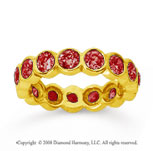 2 1/2 Carat Ruby 14k Yellow Gold Round Bezel Eternity Band
