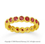 1 Carat Ruby 18k Yellow Gold Round Bezel Eternity Band