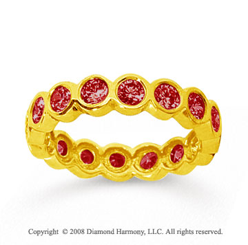 1 1/2 Carat Ruby 18k Yellow Gold Round Bezel Eternity Band