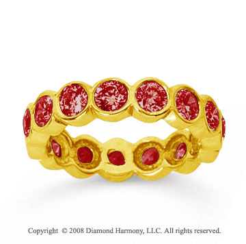 2 1/2 Carat Ruby 18k Yellow Gold Round Bezel Eternity Band