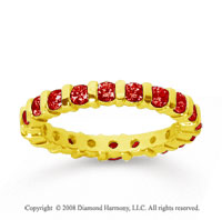 1 Carat  Ruby 14k Yellow Gold Eternity Round Bar Band