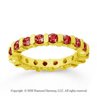 1 1/2 Carat  Ruby 14k Yellow Gold Eternity Round Bar Band