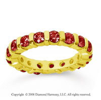 2 Carat  Ruby 14k Yellow Gold Eternity Round Bar Band