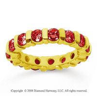 2 1/2 Carat  Ruby 14k Yellow Gold Eternity Round Bar Band