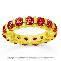 3 Carat  Ruby 14k Yellow Gold Eternity Round Bar Band