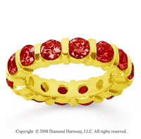 4 Carat  Ruby 14k Yellow Gold Eternity Round Bar Band
