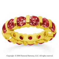 5 Carat  Ruby 14k Yellow Gold Eternity Round Bar Band