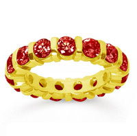3 Carat  Ruby 18k Yellow Gold Eternity Round Bar Band