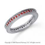 1/2 Carat Ruby Platinum Milgrain Prong Eternity Band