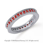 3/4 Carat Ruby Platinum Milgrain Prong Eternity Band