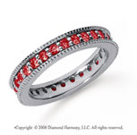 1 Carat Ruby Platinum Milgrain Prong Eternity Band