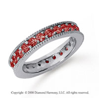 1 1/4 Carat Ruby Platinum Milgrain Prong Eternity Band