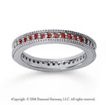 1/2 Carat Ruby 14k White Gold Milgrain Prong Eternity Band