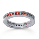 3/4 Carat Ruby 14k White Gold Milgrain Prong Eternity Band