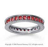 1 Carat Ruby 14k White Gold Milgrain Prong Eternity Band