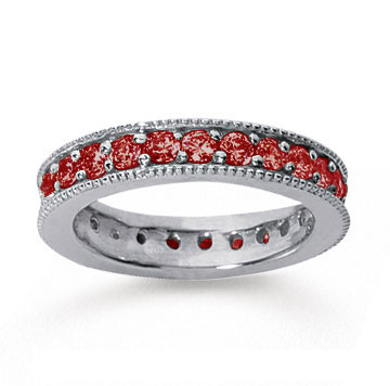 1 1/4 Carat Ruby 14k White Gold Milgrain Prong Eternity Band