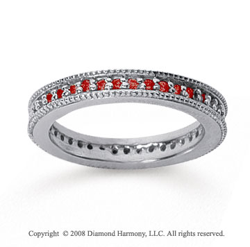 1/2 Carat Ruby 18k White Gold Milgrain Prong Eternity Band