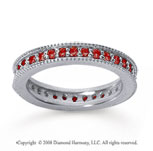 3/4 Carat Ruby 18k White Gold Milgrain Prong Eternity Band