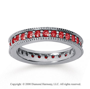 1 Carat Ruby 18k White Gold Milgrain Prong Eternity Band