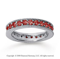 1 1/4 Carat Ruby 18k White Gold Milgrain Prong Eternity Band