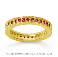 3/4 Carat Ruby 14k Yellow Gold Milgrain Prong Eternity Band