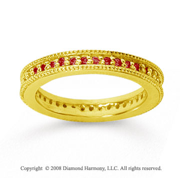 1/2 Carat Ruby 18k Yellow Gold Milgrain Prong Eternity Band
