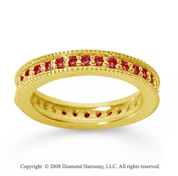 3/4 Carat Ruby 18k Yellow Gold Milgrain Prong Eternity Band