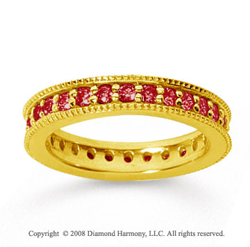 1 Carat Ruby 18k YelloWhite Gold Milgrain Prong Eternity Band
