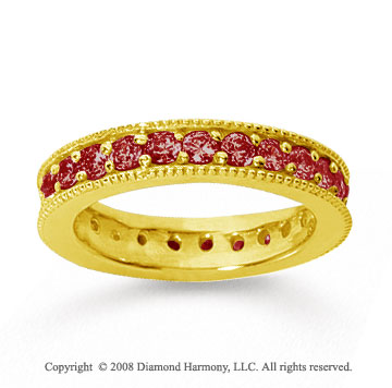 1 1/4 Carat Ruby 18k Yellow Gold Milgrain Prong Eternity Band