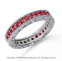 1 Carat Ruby Platinum Filigree Prong Eternity Band