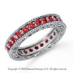 1 1/4 Carat Ruby Platinum Filigree Prong Eternity Band