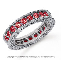 1 1/2 Carat Ruby Platinum Filigree Prong Eternity Band