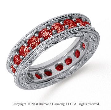 2 Carat Ruby Platinum Filigree Prong Eternity Band