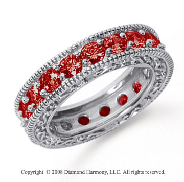 3 Carat Ruby Platinum Filigree Prong Eternity Band