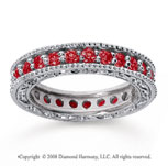 1 1/4 Carat Ruby 14k White Gold Filigree Prong Eternity Band