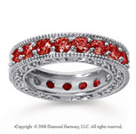 3 Carat Ruby 14k White Gold Filigree Prong Eternity Band
