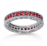 1 Carat Ruby 18k White Gold Filigree Prong Eternity Band