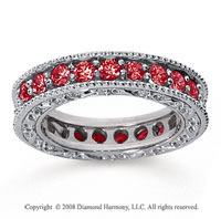 1 1/2 Carat Ruby 18k White Gold Filigree Prong Eternity Band
