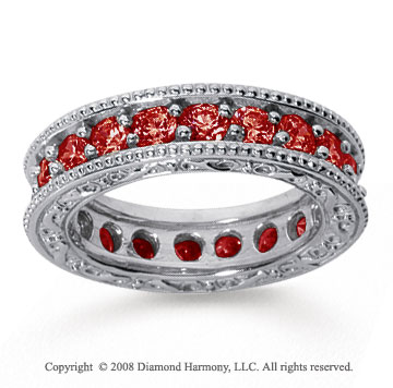 2 Carat Ruby 18k White Gold Filigree Prong Eternity Band