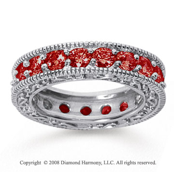 3 Carat Ruby 18k White Gold Filigree Prong Eternity Band