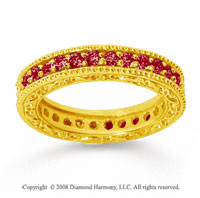 1 Carat Ruby 14k Yellow Gold Filigree Prong Eternity Band