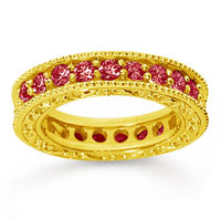 1 1/2 Carat Ruby 14k Yellow Gold Filigree Prong Eternity Band