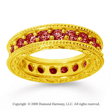 2 Carat Ruby 14k Yellow Gold Filigree Prong Eternity Band