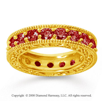 3 Carat Ruby 14k Yellow Gold Filigree Prong Eternity Band