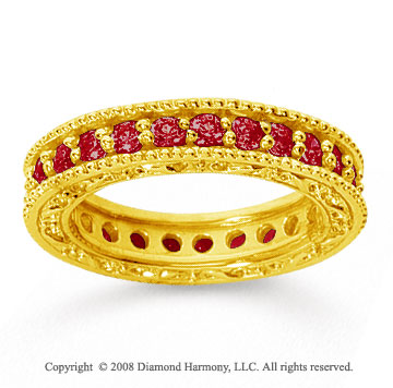 1 1/4 Carat Ruby 18k Yellow Gold Filigree Prong Eternity Band