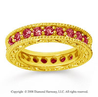 1 1/2 Carat Ruby 18k Yellow Gold Filigree Prong Eternity Band