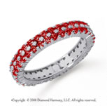 1 1/2 Carat Ruby Platinum Double Row Eternity Band