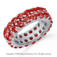 3 1/2 Carat Ruby Platinum Double Row Eternity Band