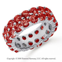 6 1/2 Carat Ruby Platinum Double Row Eternity Band