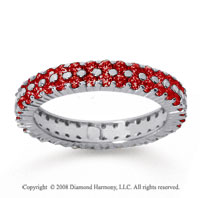 2 1/2 Carat Ruby 14k White Gold Double Row Eternity Band